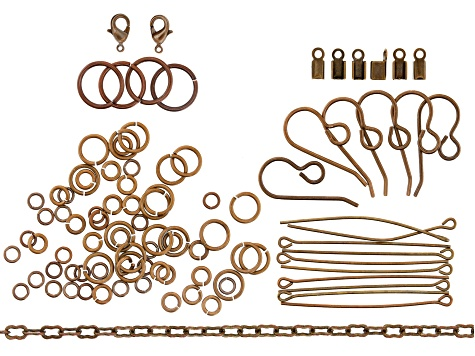 Vintaj Natural Brass Jewelry Findings Kit Includes Chain, Clasps, Jump Rings and More Appx 104 Pcs