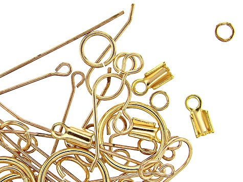Vintaj Jewelry Findings Kit in 10k Gold Over Brass Includes Chain, Clasps, Jump Rings and More