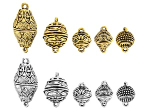 Indonesian Inspired Magnetic Clasp Set of 10 in 5 Styles in Antiqued Silver and Antiqued Gold Tones