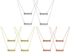 "Layered Bar Necklace Component Kit in Silver, Gold, and Rose Gold Tones Appx 20"" and 24"""
