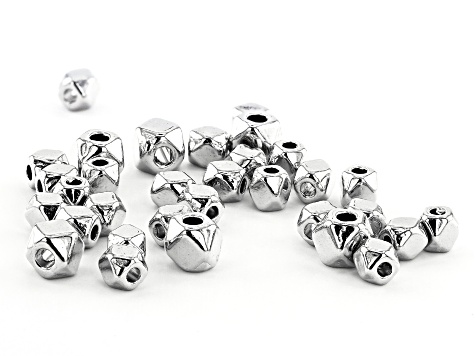 Faceted Cube Metal Spacer Bead Kit in Silver Tone in Two Sizes Contains Appx 1000 Pieces Total