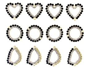 Black and White Glass Crystal Gold Tone Connector Kit in Three Styles 12 Pieces Total