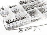 Findings Kit in Silver Tone Includes Chain, Ear Wires, Clasps, Headpins, Eye Pins, and Jump Rings