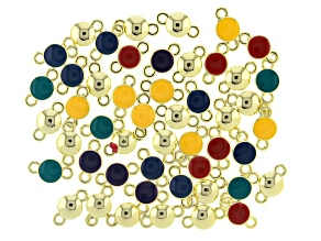 Enameled Connectors Appx 14x8mm in Assorted Colors in Gold Tone Appx 50 Pieces Total