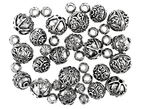 Round Flower Spacer Beads in 5 Styles in Antiqued Silver Tone Appx 40 Pieces Total