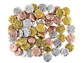 Textured Coin Bead Kit in Antiqued Silver, Gold, and Rose Tones Appx 60 Pieces Total