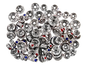 Tibetan Inspired Rondelle Spacer Beads in Antiqued Silver Tone Includes 3 Sizes Appx 80 Pieces Total