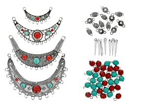Focal Pendant and Assorted Component Kit in Antiqued Silver Tone with Coral and Turquoise Simulants