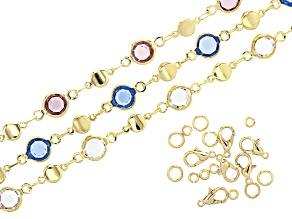 Multi-Color Glass Crystal Chain Set of 3 Strands in Gold Tone Appx 30