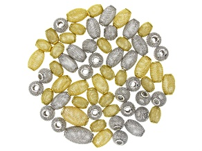 Mesh Oval Metal Bead Kit in Silver and Gold Tones Includes 4 Sizes Appx 62 Beads Total