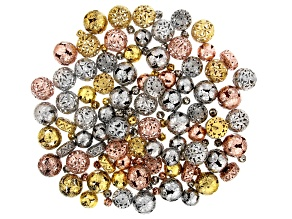Filigree Metal Bead Kit in Assorted Styles in Antiqued Silver, Gold, and Rose Tones Appx 140 Pieces