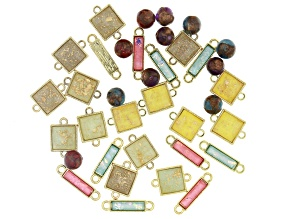 Gold Foil Acrylic Connectors and Quartzite Bead Kit in Assorted Styles and Colors Appx 37 Pieces