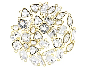 Glass Crystal Connector Kit in Gold Tone in Seven Styles Appx 35 Pieces Total