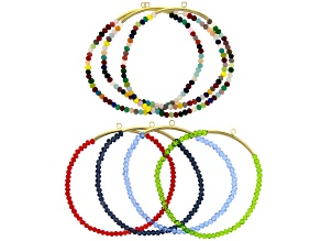 Stretch Bracelet Foundations with Multi Color Glass Beads and Gold Tone Tube Set of 7
