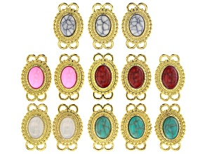 Multi Color Oval Glass Connectors in Gold Tone Set of 13