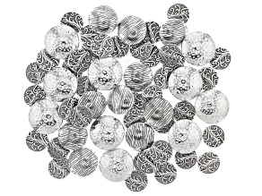Textured Spacer Bead Kit in 3 Styles in Antiqued Silver Tone Appx 60 Pieces Total