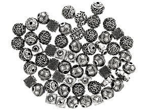 Indonesian Inspired Large Hole Spacer Beads in 4 Designs in Antiqued Silver Tone