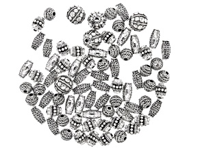 Indonesian Inspired Large Hole Spacer Beads in 4 Designs in Antiqued Silver Tone Appx 75 Pieces