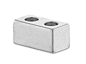 Double Strand Rectangle Slide Bead Clasp in Silver Tone Appx 10x5mm with Appx 3mm Large Holes