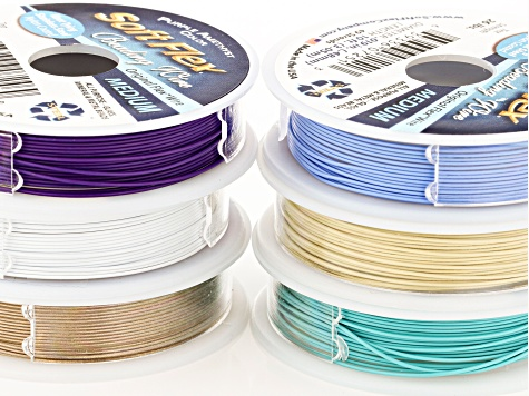 Soft Flex 19-Strand and 49-Strand Beading Wire Set of 6 in Assorted Colors