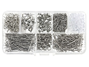 Findings Kit in Antiqued Silver Tone in Storage Case Appx 671 Pieces