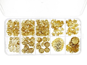 Floral Bead Cap Kit includes 7 Assorted Sizes in Gold Tone Appx 375 Pieces Total