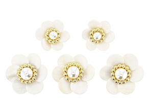 Shell Flower Component Kit in Gold Tone 5 Pieces Total