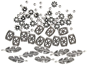 Mixed Shape Component and Metal Bead Kit in Antiqued Silver Tone Appx 80 Pieces Total