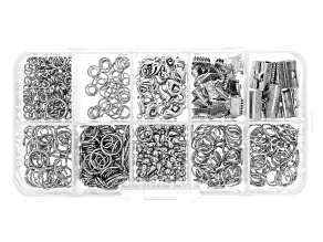 Assorted Findings Kit in Rhodium Over Brass Appx 622 Pieces Total