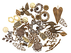 Vintaj Component Assortment in 22 Designs in Natural Brass 46 Pieces Total