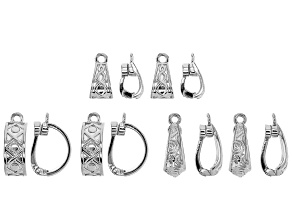 Magnetic Enhancer Bail Kit in 3 Designs in Silver Tone 12 Pieces Total