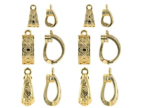 Magnetic Enhancer Bail Kit in 3 Designs in Gold Tone 12 Pieces Total