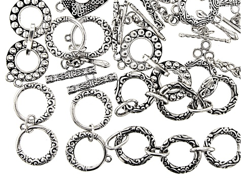 Toggle Style Clasp Set of 20 in 6 Styles in Antiqued Silver Tone