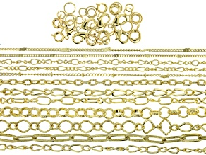 "Iron Chain Kit in 12 Designs in Gold Tone Appx 360"" Total with Findings"