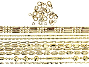 "Fancy Brass Unfinished Chain in 9 Designs in Gold Tone with Findings Appx 180"" Total"