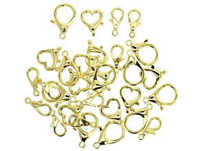 Jumbo Lobster Claw Clasp Kit Includes 3 Sizes in Gold Tone Appx 30 Pieces Total