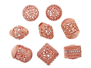 Moroccan Inspired Filigree Focal Bead Kit in Rose Tone with Glass Crystal Appx 8 Pieces Total