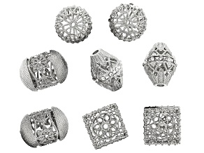 Moroccan Inspired Filigree Focal Bead Kit in Silver Tone with Glass Crystal Appx 8 Pieces Total
