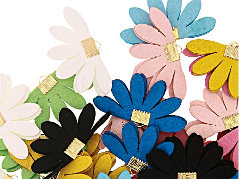 Faux Suede Floral Fan Component Kit in 10 Assorted Colors Appx 40 Pieces Total