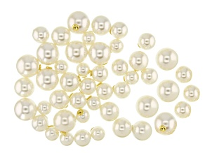 Faux Pearl Silicone Earring Back Kit in Gold Tone 10, 12, 14, and 16mm 48 Pieces Total