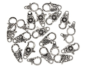 Designer Lobster Style Clasp Set in 3 Designs in Antiqued Silver Tone 21 Pieces Total
