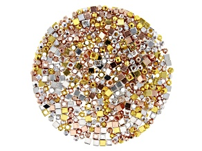 Spacer Bead Kit in 3 Styles in Silver Tone, Gold Tone, and Rose Gold Tone 600 Pieces Total