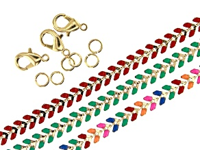 """Enameled Chain Set of 3 Appx 18"""" in length with Findings in Gold Tone"""