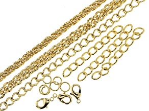 "Unfinished Chain in 3 Styles in Gold Tone Appx 20"" Each with Findings"