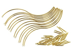 Wave Shaped Wire Components and Connectors in Gold Tone Appx 48 Pieces Total