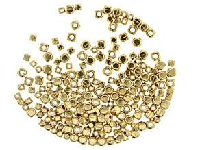 Faceted Square and Square Spacer Bead Kit in 2 Sizes in Gold Tone Appx 200 Pieces Total