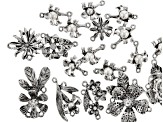 Floral Component Kit in 10 Styles in Antiqued Silver Tone 18 Pieces Total