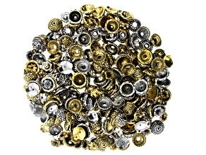 Electroform Bead Caps in 5 Styles in Antiqued Silver and Antiqued Gold Tones Appx 300 Pieces Total