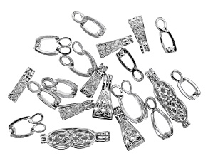 Celtic Inspired Enhancer Bail Kit in 5 Designs in Silver Tone 20 Pieces Total
