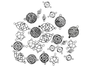 Celtic Inspired Connectors Kit in 6 Designs in Antiqued Silver Tone 26 Pieces Total